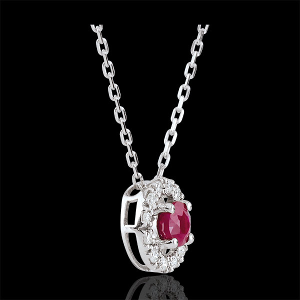 Collana Clevia - Oro bianco - 18 carati -12 Diamanti - Rubino