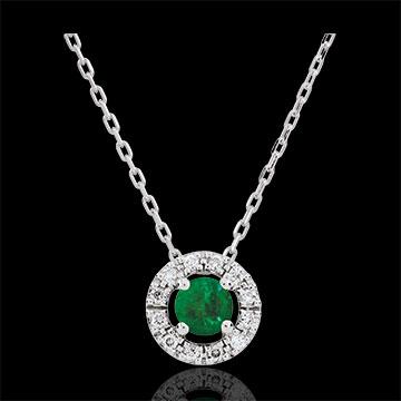 Collana Clevia - Oro bianco - 18 carati -12 Diamanti - Smeraldo