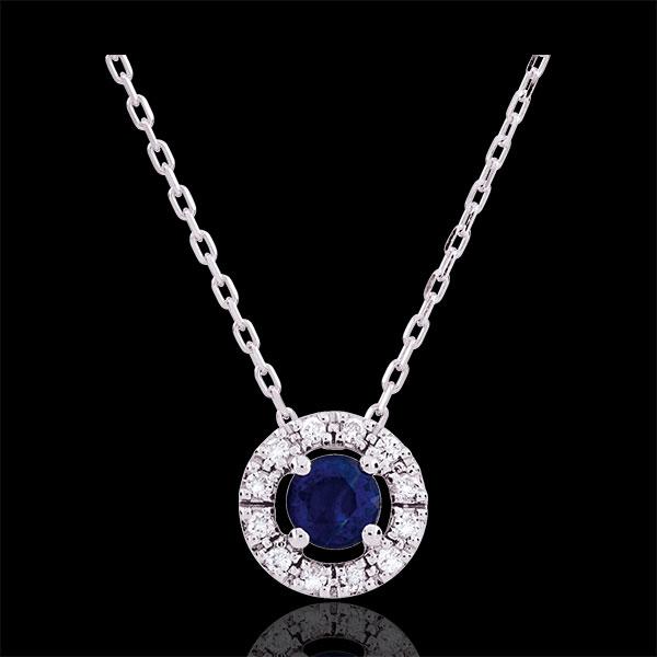 Collana Clevia - Oro bianco - 18 carati -12 Diamanti - Zaffiro