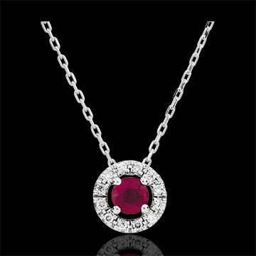 Collana Clevia - Oro bianco - 9 carati - 12 Diamanti - Rubino