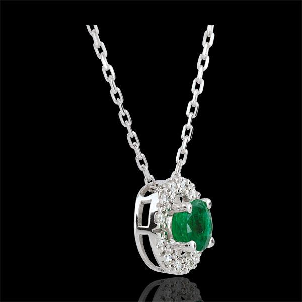 Collana Clevia - Oro bianco - 9 carati - 12 Diamanti - Smeraldo