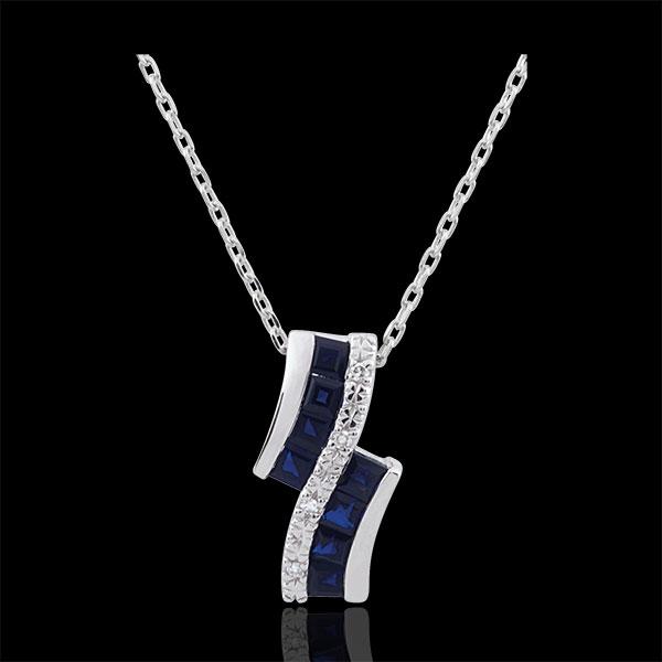 Collana Costellazione - Oro bianco - 9 carati - Zodiaco - Zaffiri - Diamanti