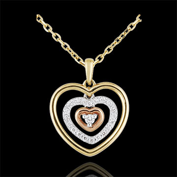 Collana Cuore Concentrico - 3 Ori - 9 carati - 21 Diamanti