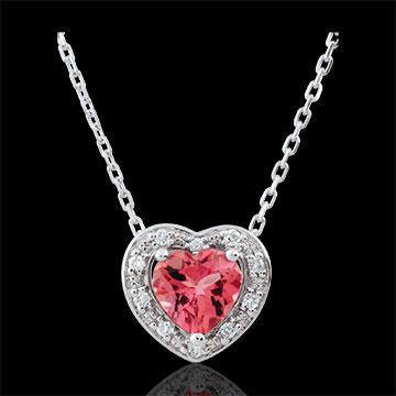 Collana Cuore Incantato - Oro bianco - 18 carati - 10 Diamanti - tormalina rosa - 0.83 carati