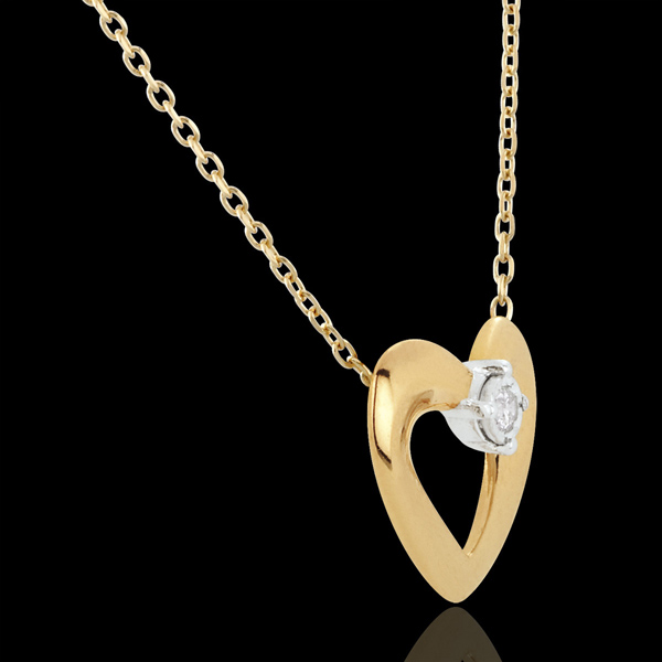 Collana Cuore Grazioso Oro bianco e Diamante - 45 cm.