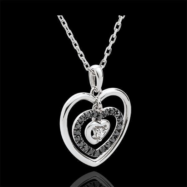 Collana Cuore Impronta - Oro bianco - 18 carati - 21 Diamanti neri - Diamante bianco