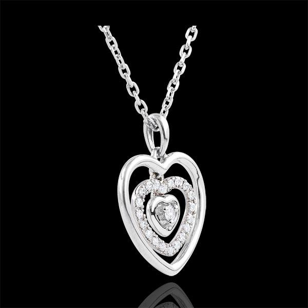 Collana Cuore Impronta - Oro bianco - 9 carati - 21 Diamanti