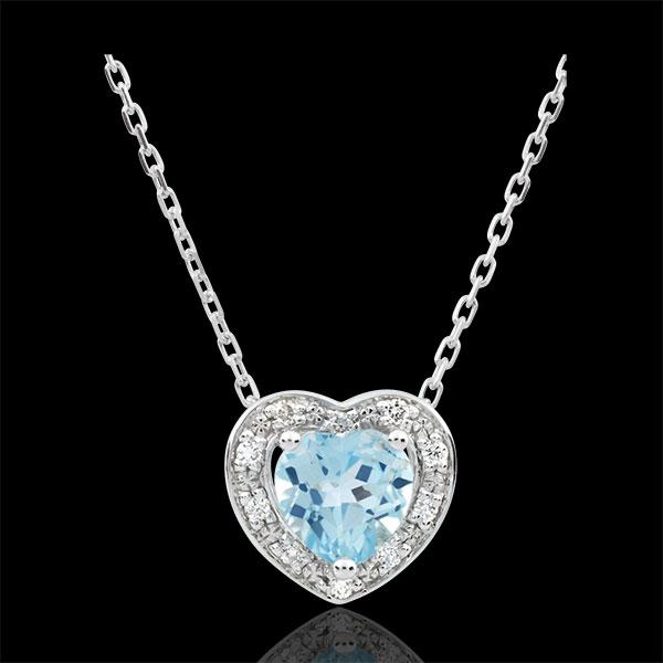 Collana Cuore Incantato - Oro bianco - 9 carati - 10 Diamanti -Topazio blu - 0.97 carati