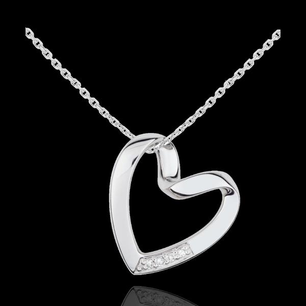 Collana Cuore Nastro - Oro bianco - 9 carati - 4 Diamanti