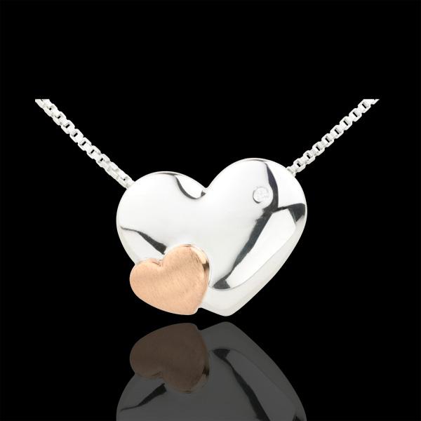 Collana Cuori Dolcezza - Oro bianco e Oro rosa - 9 carati - Diamante