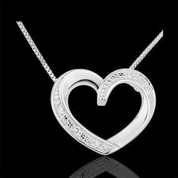 Collana Cuori Innamorati- Oro bianco - 18 carati - 5 Diamanti
