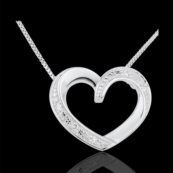 Collana Cuori Innamorati - Oro bianco - 9 carati - 5 Diamanti