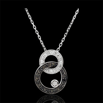 Collana Chiaroscuro - Duetto di Lune -Oro bianco - 18 carati - Diamanti bianchi e neri