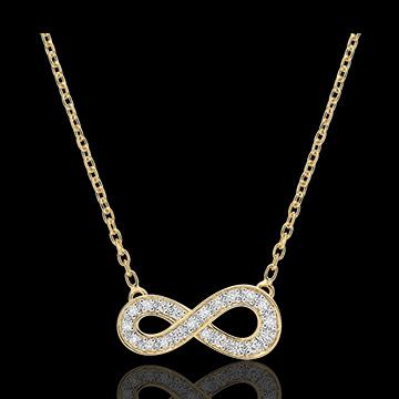 Collana Infinito - Oro giallo - 9 carati - Diamanti