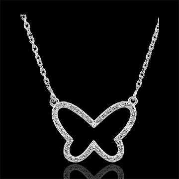 Collana Passeggiata Immaginaria - Farfalla Nuvola - Oro bianco - 9 carati - Diamanti