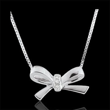Collana Fiocco Carlotta - Oro bianco - 9 carati - 3 Diamanti