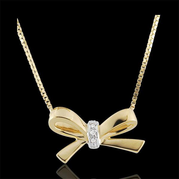 Collana Fiocco Carlotta - Oro giallo - 9 carati - 3 Diamanti