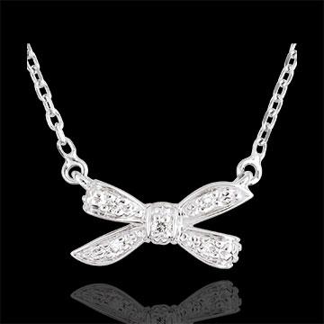 Collana Fiocco dell'Eden - Oro bianco - 18 carati - 5 Diamanti