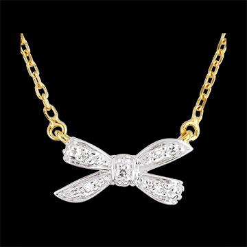 Collana Fiocco dell'eden Oro bianco e Oro giallo - 18 carati - 5 Diamanti