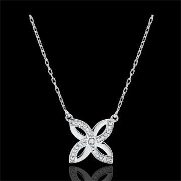 Collana Freschezza - Giglio d'estate - Oro bianco - 9 carati - Diamanti