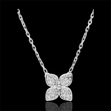 Collana Fiore d'eternità - Oro bianco - 9 carati - 16 Diamanti
