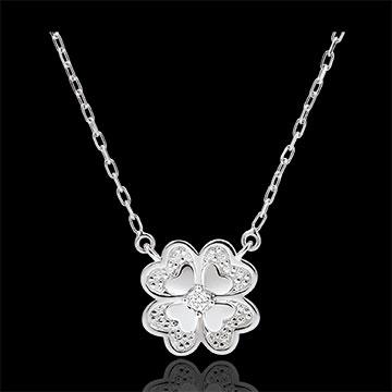 Collana Freschezza - Quadrifoglio Splendente - Oro bianco - 9 carati - Diamanti
