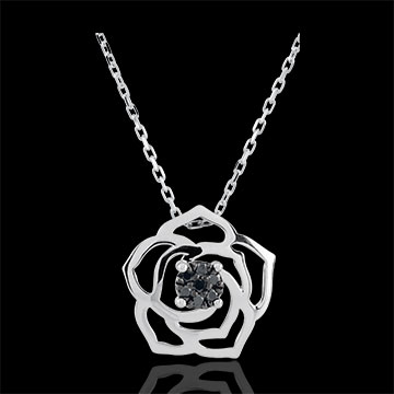 Collana Freschezza - Rosa Assoluta - Oro bianco - 18 carati - Diamanti neri