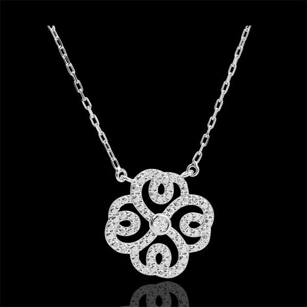 Collana Freschezza - Trifolgio Arabesco - Oro bianco - 9 carati - Diamanti