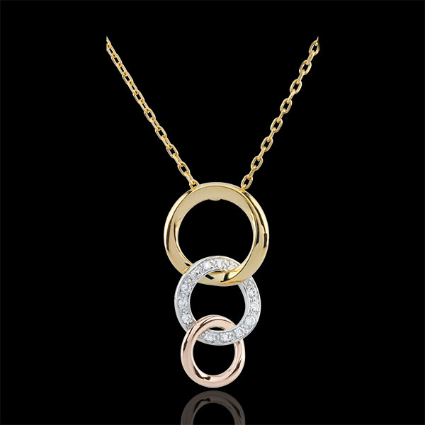 Collana Gala - Tre ori - 18 carati - 13 Diamanti
