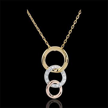 Collana Gala - Tre ori - 9 carati - 13 Diamanti