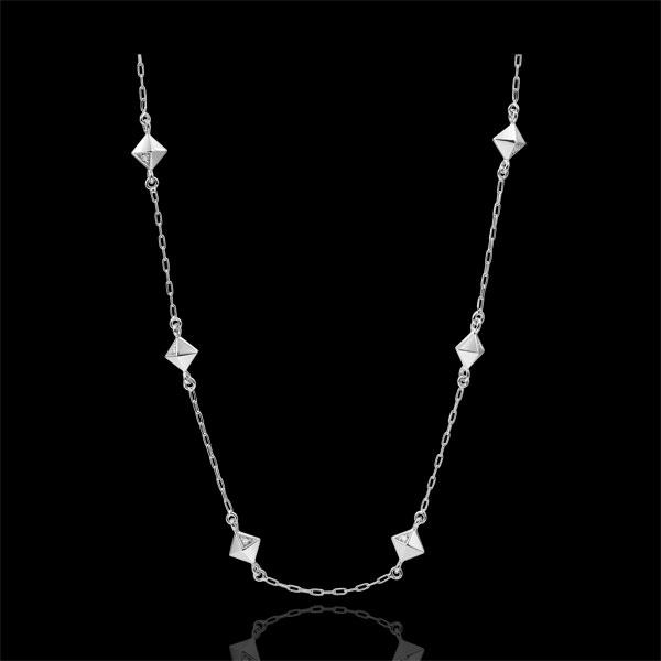 Collana Genesi - Diamanti grezzi - Oro bianco - 9 carati - Diamanti