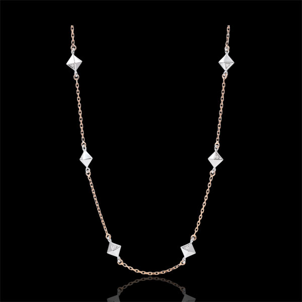 Collana Genesi - Diamanti grezzi - Oro rosa - 9 carati - Diamanti