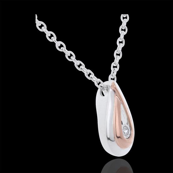 Collana Gocce di rugiada - Oro bianco e Oro rosa - 9 carati - Diamante