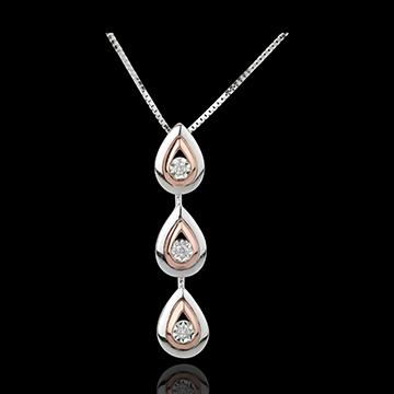 Collana Gocce di rugiada variazione - Oro bianco e Oro rosa - 18 carati - 3 Diamanti