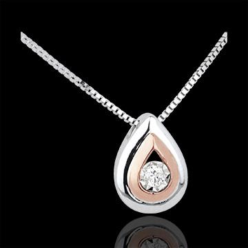 Collana Lacrima d'Antilope - Oro bianco e Oro rosa - 18 carati - Diamante