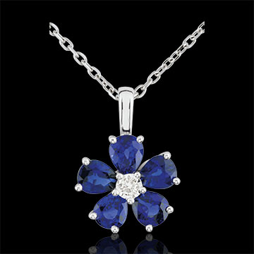 Collana Maria Flora - Oro bianco - 9 carati - 5 Zaffiri - Diamante - 2.02 carati