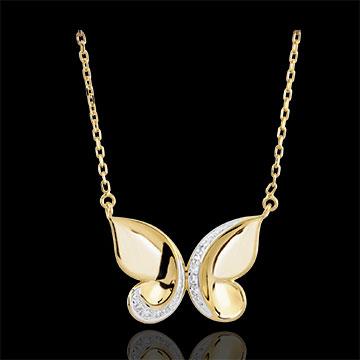Collana Passeggiata Immaginaria - Farfalla a cascata - Oro giallo e Oro bianco - 9 carati - Diamanti