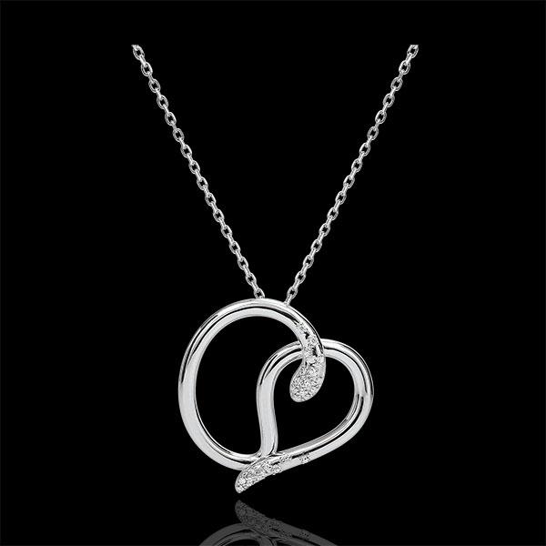 Collana Passegiata Immaginaria - Serpente Amore - Oro bianco e Diamante - 9 carati