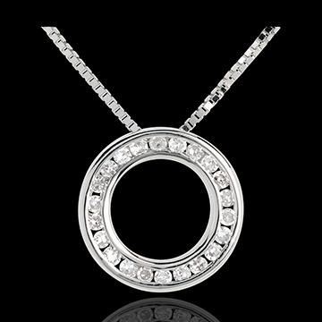 Collana Pendolo - Oro bianco pavé - 18 carati - 22 Diamanti