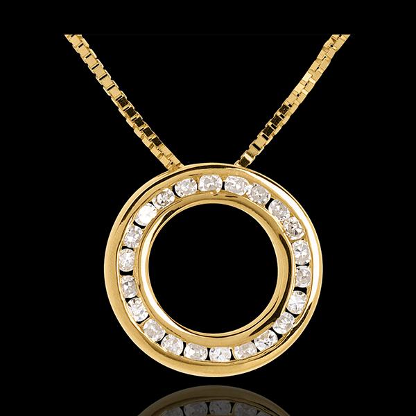 Collana Pendolo - Oro giallo pavé - 18 carati - 22 Diamanti
