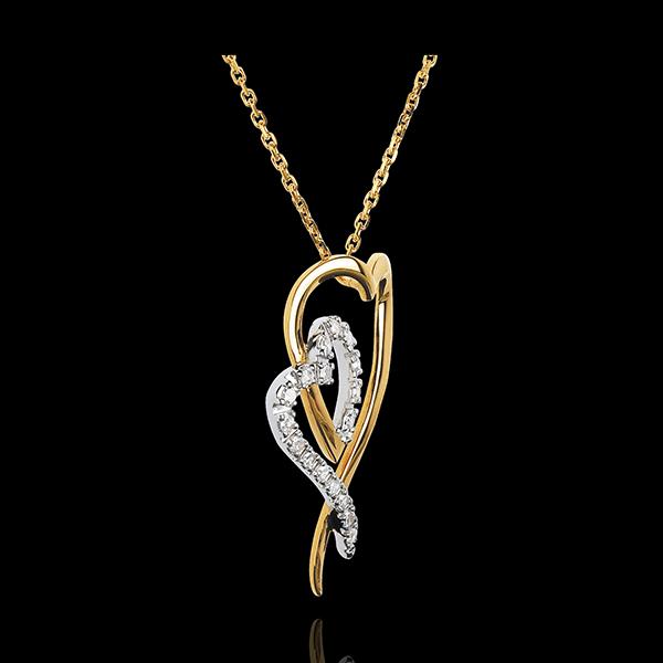 Collana Riflesso - Oro bianco e Oro giallo - 18 carati - 17 diamanti - 0.12 carati