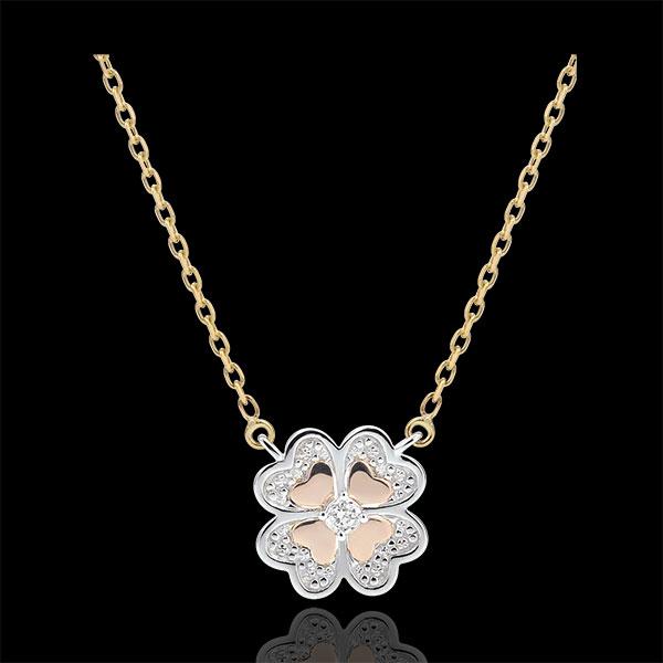 Collana Sboccio - Quadrifoglio Splendente - 3 ori - 9 carati - Diamanti