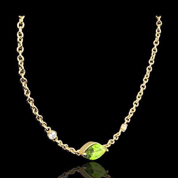 Collana Sguardo d'Oriente - peridoto e diamanti - oro giallo 9 carati