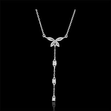 Collana Soffio Leggero - Oro bianco - 9 carati - 5 Diamanti