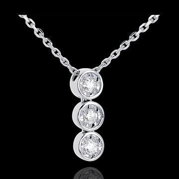 Collana Trilogy Filante -Oro bianco - 3 Diamanti -0.12 carati