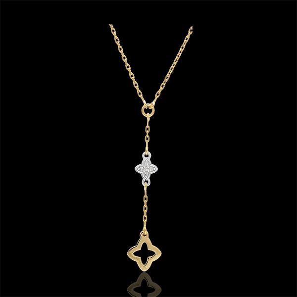 Collar Augusta - dos oros - oro blanco y oro amarillo - diamantes