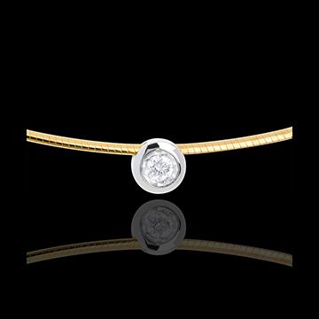 Collar cable oro amarillo alfiler diamante