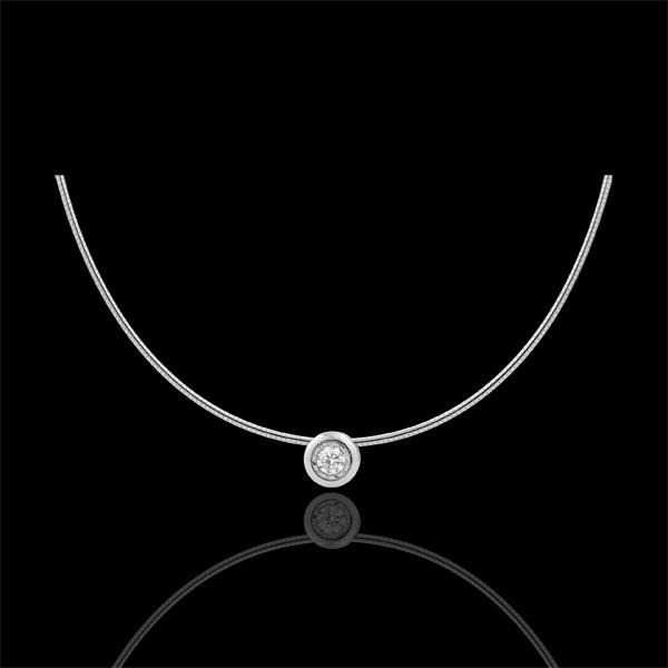 Collar cable oro blanco alfiler diamante