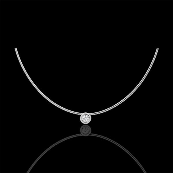 Collar cable oro blanco rosa diamante