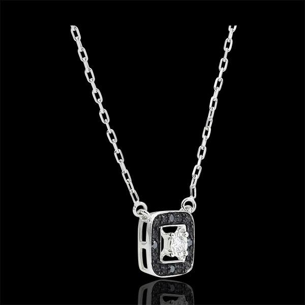 Collar Claroscuro - oro blanco 9 quilates - diamante negro 0. 03 quilates